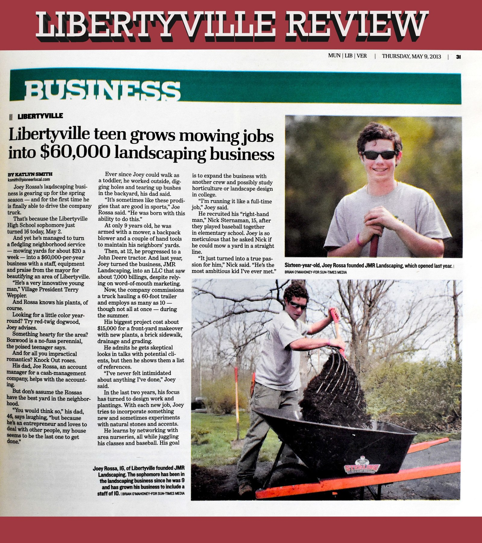 Teenage Rossa Propels JMR Landscaping to New Heights