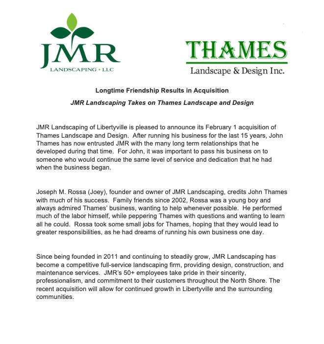 JMR Landscaping Acquires Thames Landscape & Design Inc.